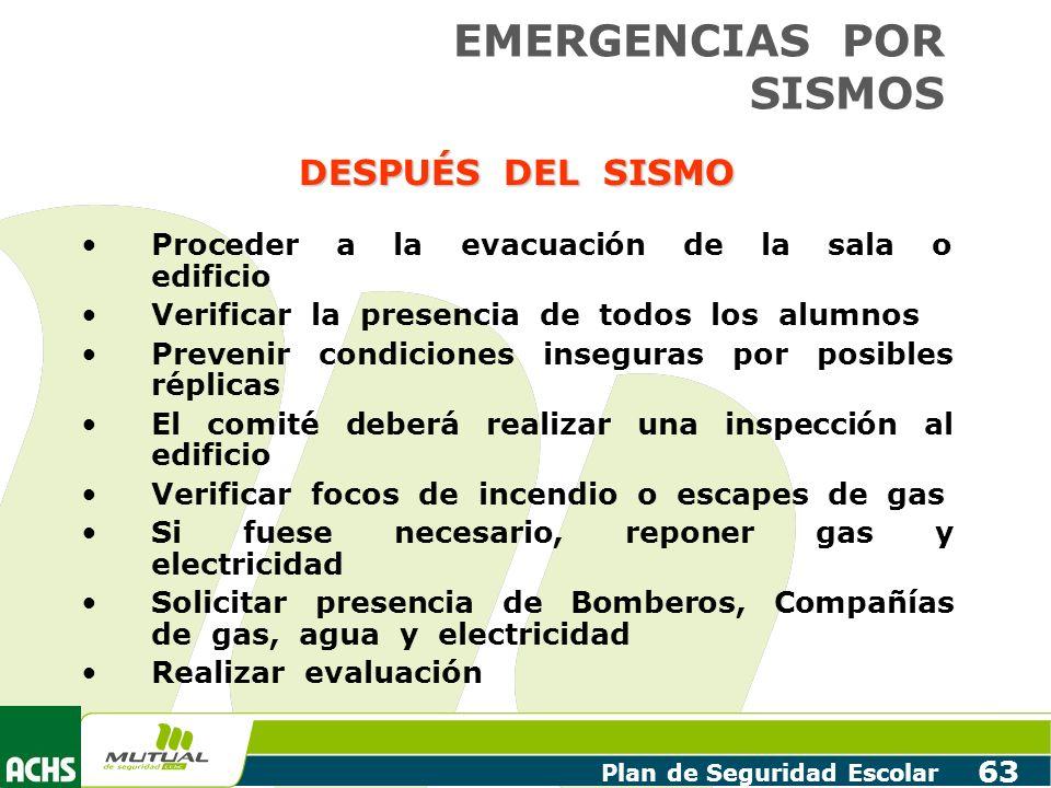 Plan de Seguridad Escolar 63 DESPUÉS DEL SISMO Proceder a la evacuación de la sala o edificio Verificar la presencia de todos los alumnos Prevenir con