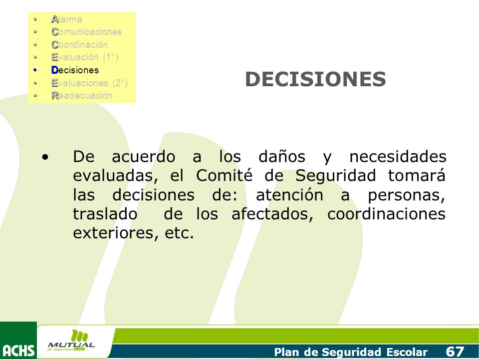 Plan de Seguridad Escolar 67 DECISIONES De acuerdo a los daños y necesidades evaluadas, el Comité de Seguridad tomará las decisiones de: atención a pe