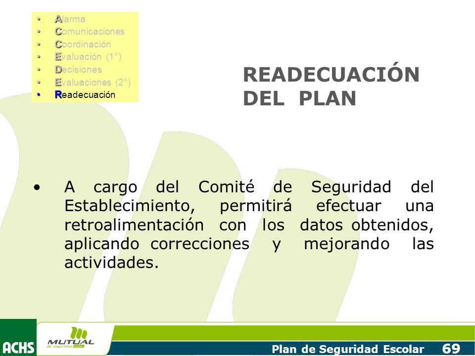 Plan de Seguridad Escolar 69 READECUACIÓN DEL PLAN A cargo del Comité de Seguridad del Establecimiento, permitirá efectuar una retroalimentación con l
