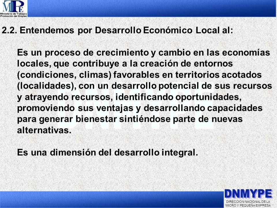 DIRECCION NACIONAL DE LA MICRO Y PEQUEÑA EMPRESA 2.2. Entendemos por Desarrollo Económico Local al: Es un proceso de crecimiento y cambio en las econo