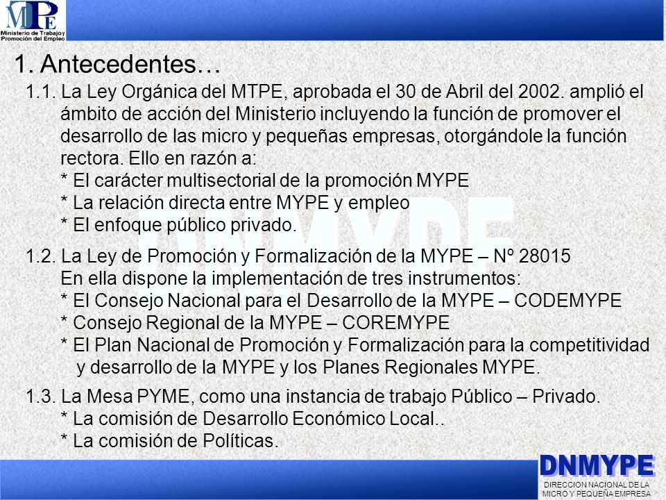 DIRECCION NACIONAL DE LA MICRO Y PEQUEÑA EMPRESA 1. Antecedentes… 1.1. La Ley Orgánica del MTPE, aprobada el 30 de Abril del 2002. amplió el ámbito de