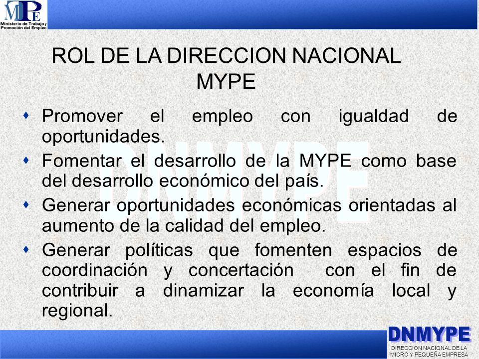 DIRECCION NACIONAL DE LA MICRO Y PEQUEÑA EMPRESA Promover el empleo con igualdad de oportunidades. Fomentar el desarrollo de la MYPE como base del des