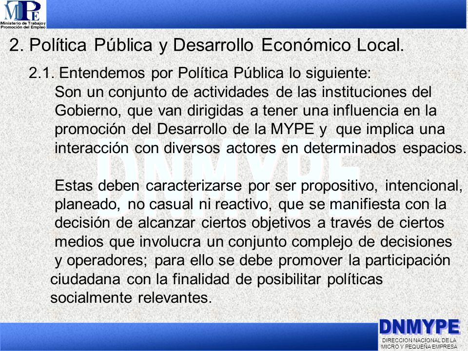 DIRECCION NACIONAL DE LA MICRO Y PEQUEÑA EMPRESA 2. Política Pública y Desarrollo Económico Local. 2.1. Entendemos por Política Pública lo siguiente: