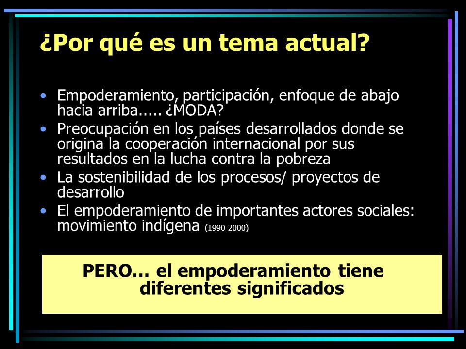 ¿Por qué es un tema actual? Empoderamiento, participación, enfoque de abajo hacia arriba..... ¿MODA? Preocupación en los países desarrollados donde se