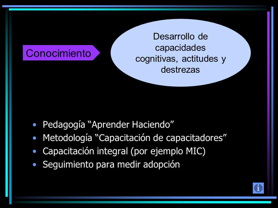 Pedagogía Aprender Haciendo Metodología Capacitación de capacitadores Capacitación integral (por ejemplo MIC) Seguimiento para medir adopción Desarrol