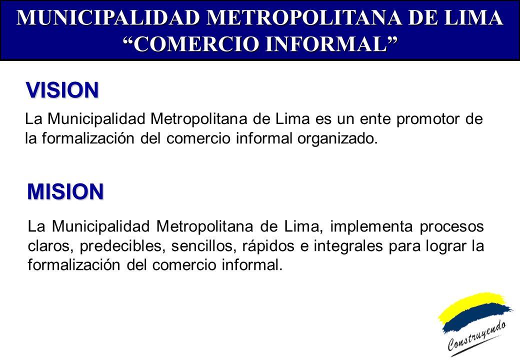 PROMOVER Y CONSOLIDAR EMPRESARIALMENTE A LAS.....ORGANIZACIONES DE LOS COMERCIANTES INFORMALES LOS COMERCIANTES INFORMALES SON PARTE DE LA SOLUCION DESARROLLAR ECONÓMICAMENTE A LOS CONGLOMERADOS.....COMERCIALES NUEVAS POLITICAS DE GESTION DEL COMERCIO INFORMAL DE LA MUNICIPALIDAD DE LIMA DE LA MUNICIPALIDAD DE LIMA