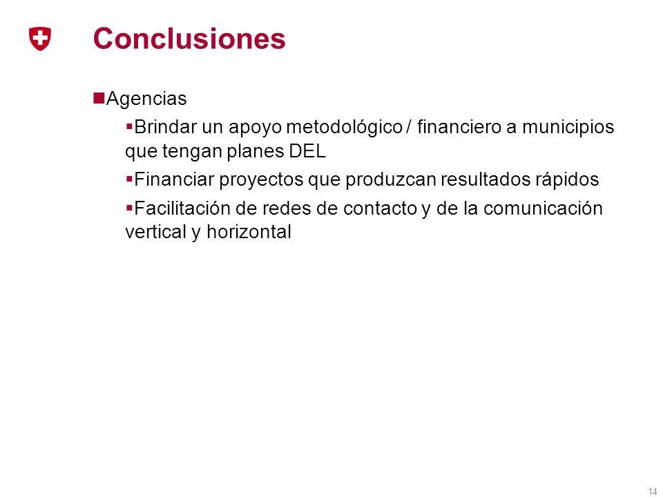 14 Conclusiones Agencias Brindar un apoyo metodológico / financiero a municipios que tengan planes DEL Financiar proyectos que produzcan resultados rápidos Facilitación de redes de contacto y de la comunicación vertical y horizontal