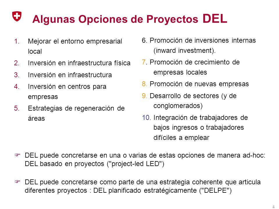 4 Algunas Opciones de Proyectos DEL 1.Mejorar el entorno empresarial local 2.Inversión en infraestructura física 3.Inversión en infraestructura 4.Inversión en centros para empresas 5.Estrategias de regeneración de áreas 6.