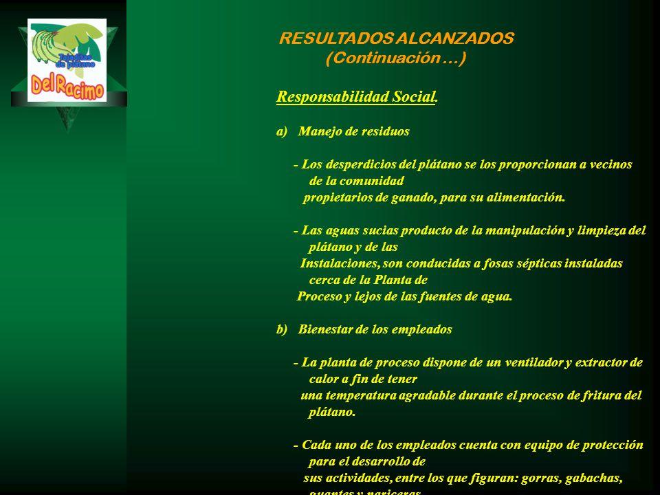 RESULTADOS ALCANZADOS (Continuación …) Responsabilidad Social.