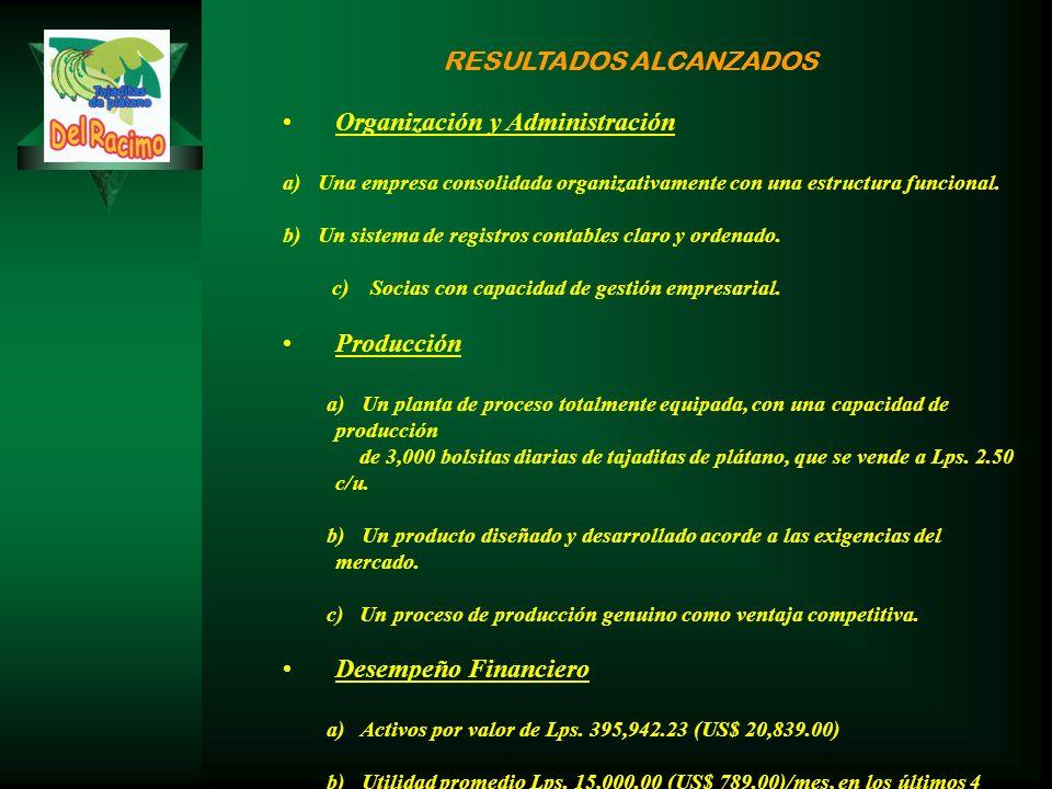 RESULTADOS ALCANZADOS Organización y Administración a) Una empresa consolidada organizativamente con una estructura funcional.