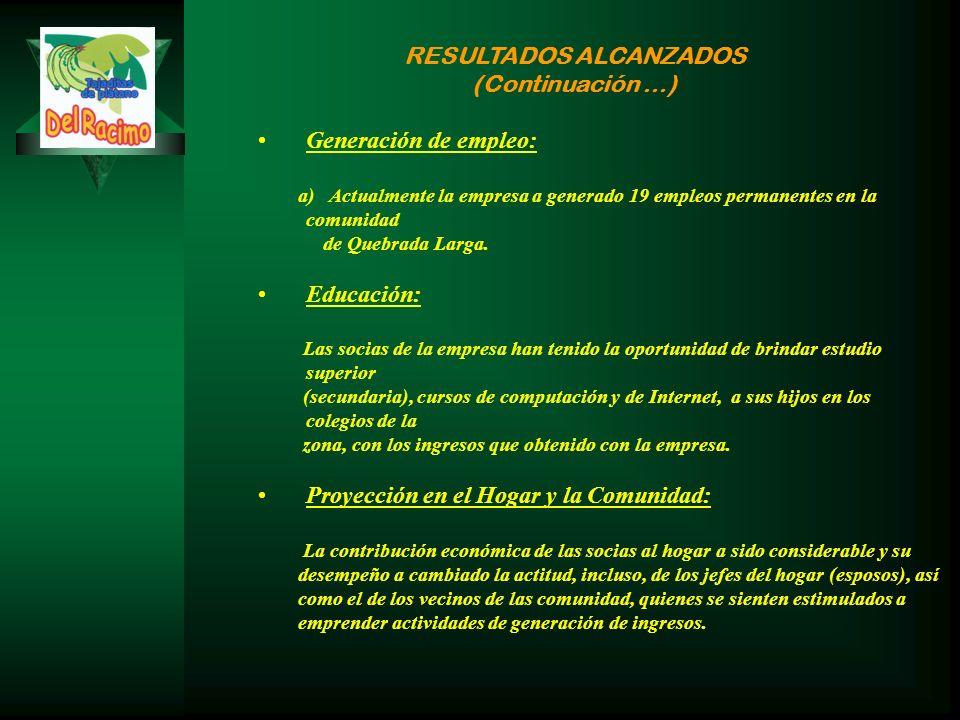 RESULTADOS ALCANZADOS (Continuación …) Generación de empleo: a) Actualmente la empresa a generado 19 empleos permanentes en la comunidad de Quebrada Larga.