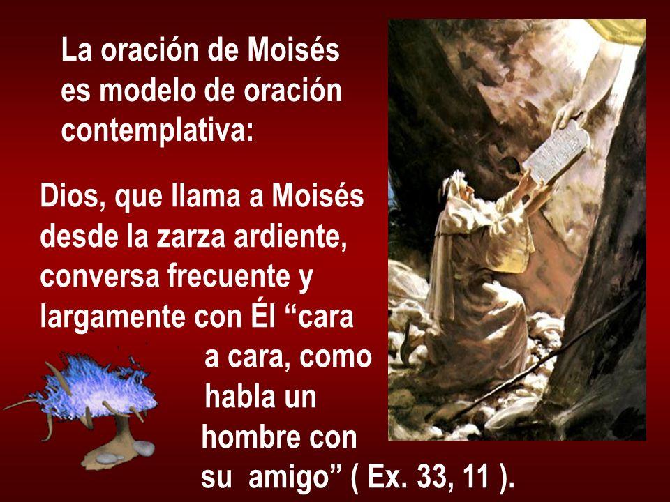 La oración de Moisés es modelo de oración contemplativa: Dios, que llama a Moisés desde la zarza ardiente, conversa frecuente y largamente con Él cara