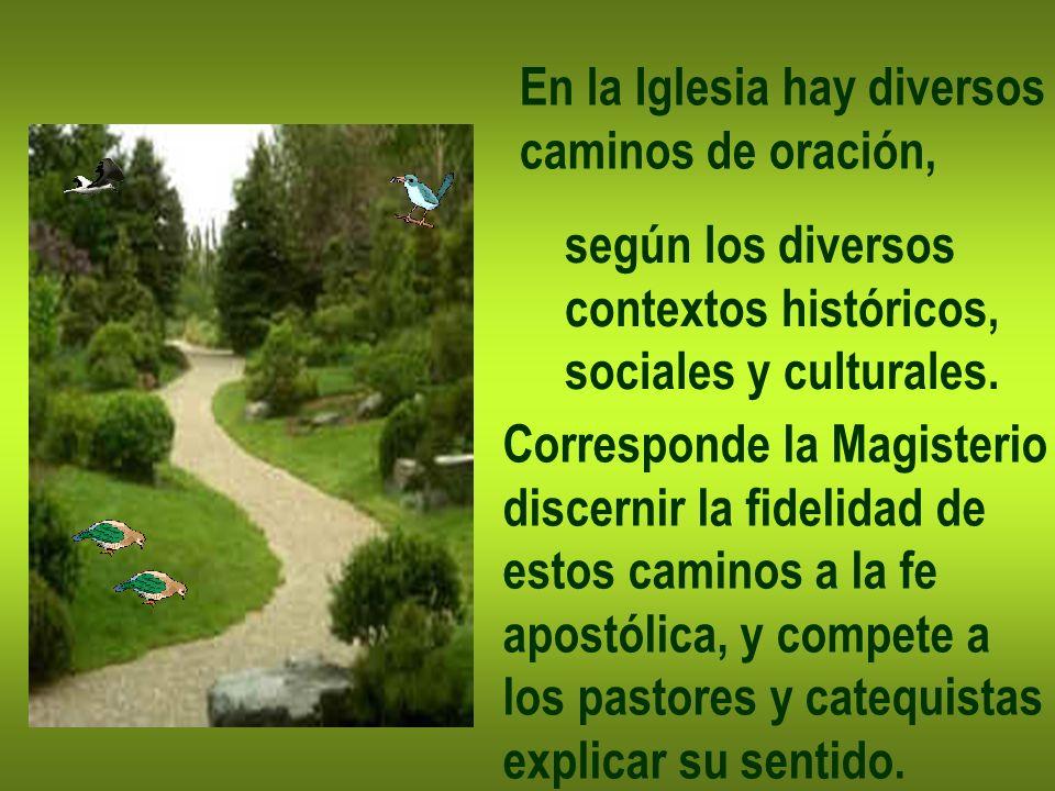 En la Iglesia hay diversos caminos de oración, según los diversos contextos históricos, sociales y culturales. Corresponde la Magisterio discernir la