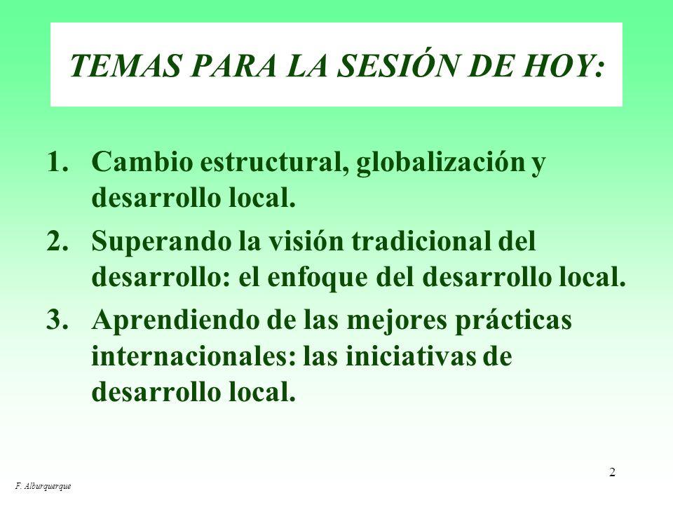 1 DESARROLLO ECONÓMICO LOCAL Centro Internacional de Formación de la OIT Turín, 2 y 3 de octubre de 2003 F. Alburquerque
