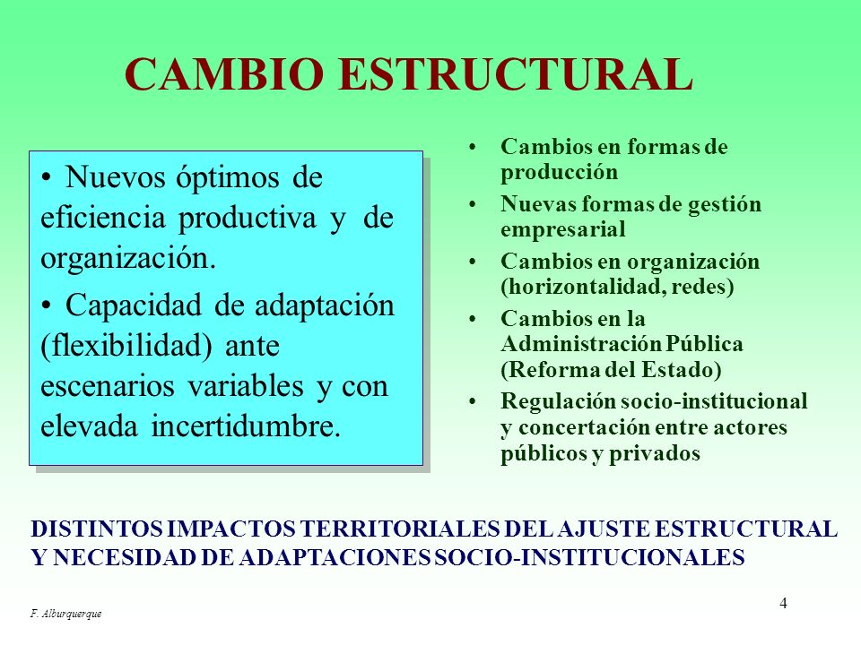 34 LOS CAMBIOS INSTITUCIONALES NECESARIOS: LA REFORMA DEL ESTADO ESTO IMPLICA SUBRAYAR LA INNOVACIÓN Y LA CAPACIDAD PROPIAS DE DESARROLLO LOCAL DE CADA TERRITORIO: –Y no limitarse únicamente a las modalidades compensatorias desde la Administración Central del Estado, que han caracterizado tradicionalmente a la política de desarrollo regional.