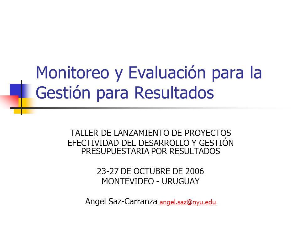 Monitoreo y Evaluación para la Gestión para Resultados TALLER DE LANZAMIENTO DE PROYECTOS EFECTIVIDAD DEL DESARROLLO Y GESTIÓN PRESUPUESTARIA POR RESU