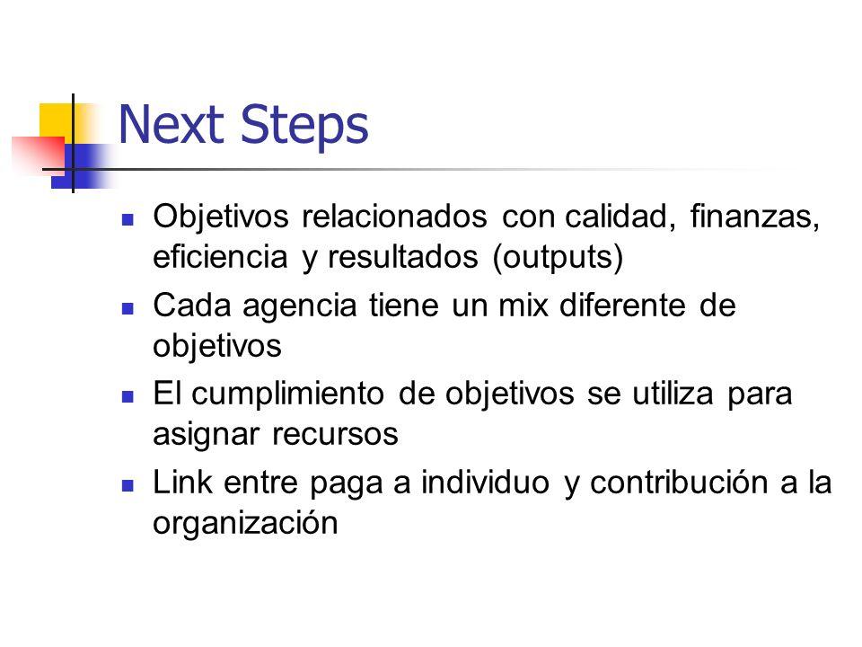 Next Steps Objetivos relacionados con calidad, finanzas, eficiencia y resultados (outputs) Cada agencia tiene un mix diferente de objetivos El cumplim