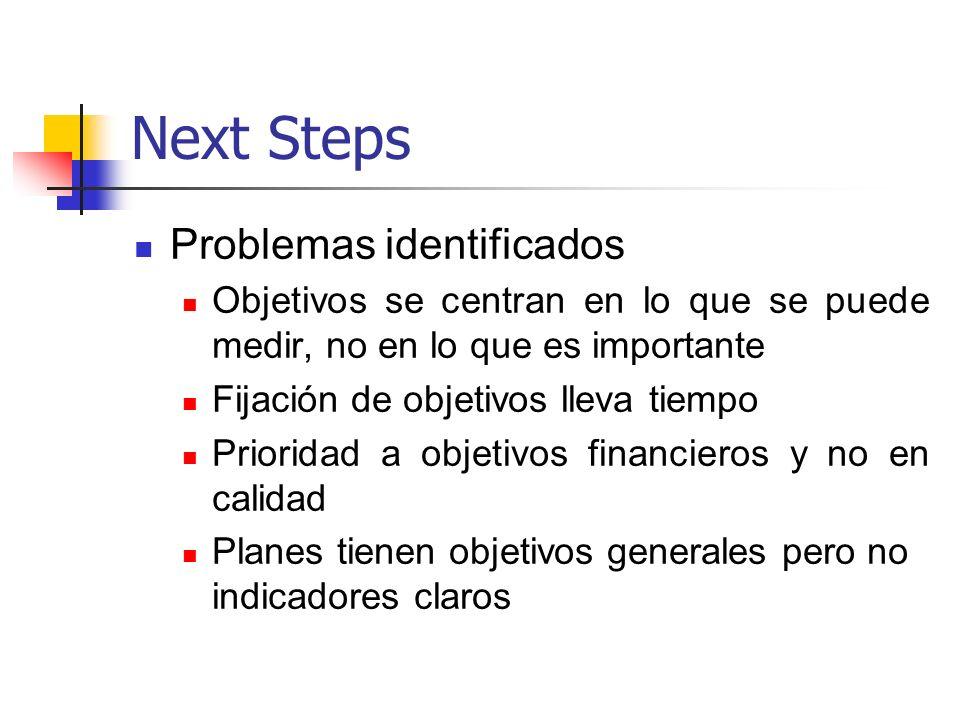 Next Steps Problemas identificados Objetivos se centran en lo que se puede medir, no en lo que es importante Fijación de objetivos lleva tiempo Priori