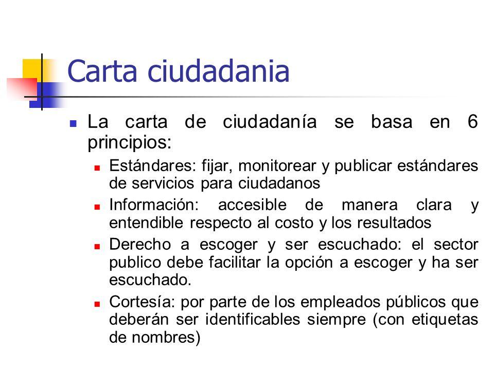 Carta ciudadania La carta de ciudadanía se basa en 6 principios: Estándares: fijar, monitorear y publicar estándares de servicios para ciudadanos Info