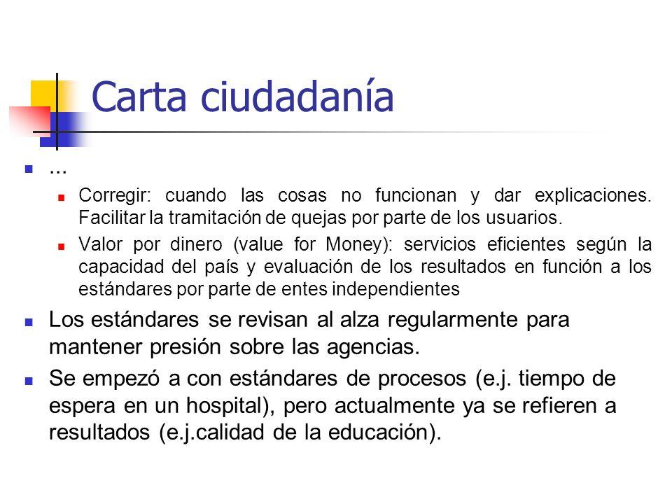 Carta ciudadanía... Corregir: cuando las cosas no funcionan y dar explicaciones. Facilitar la tramitación de quejas por parte de los usuarios. Valor p