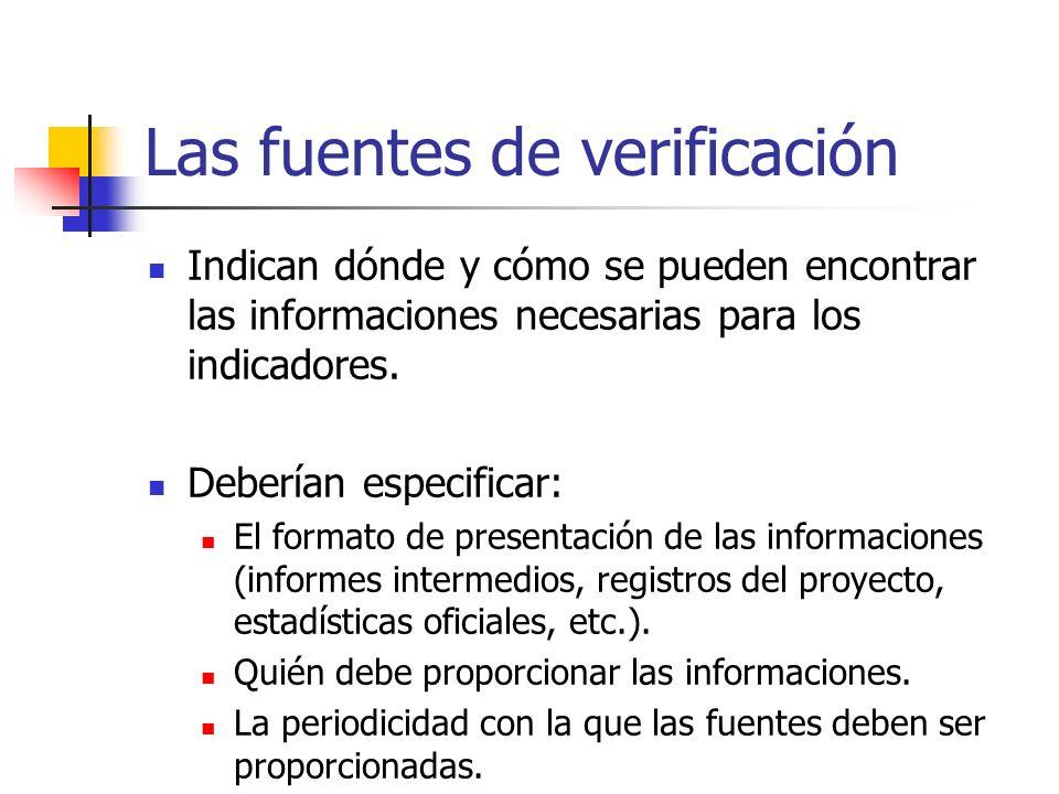 Las fuentes de verificación Indican dónde y cómo se pueden encontrar las informaciones necesarias para los indicadores. Deberían especificar: El forma
