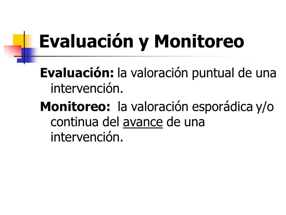 Evaluación y Monitoreo Evaluación: la valoración puntual de una intervención. Monitoreo: la valoración esporádica y/o continua del avance de una inter