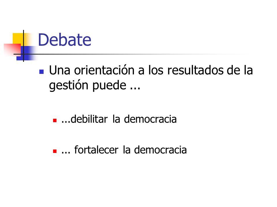 Debate Una orientación a los resultados de la gestión puede......debilitar la democracia... fortalecer la democracia