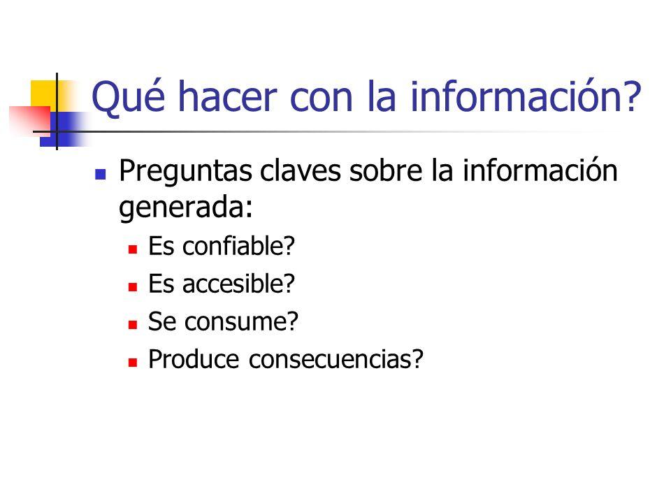 Qué hacer con la información? Preguntas claves sobre la información generada: Es confiable? Es accesible? Se consume? Produce consecuencias?