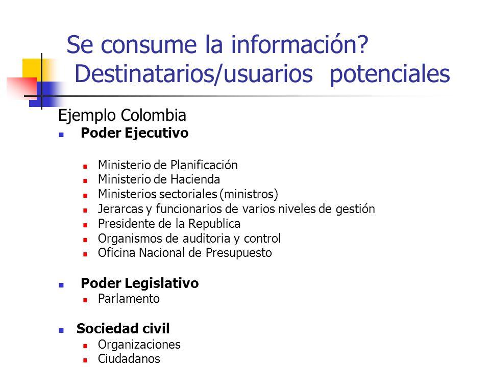 Se consume la información? Destinatarios/usuarios potenciales Ejemplo Colombia Poder Ejecutivo Ministerio de Planificación Ministerio de Hacienda Mini