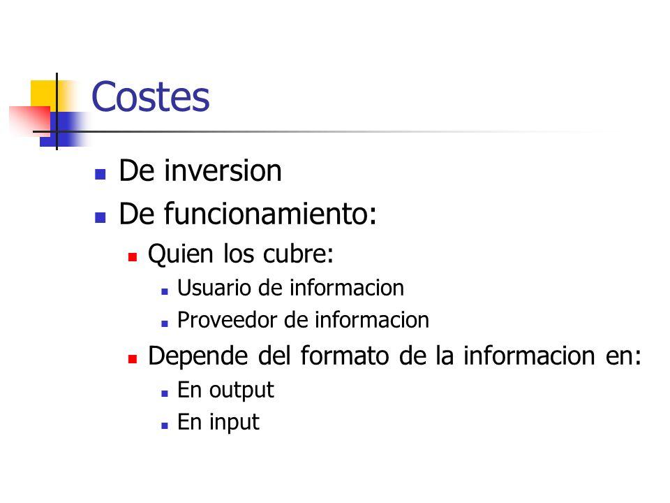 Costes De inversion De funcionamiento: Quien los cubre: Usuario de informacion Proveedor de informacion Depende del formato de la informacion en: En o