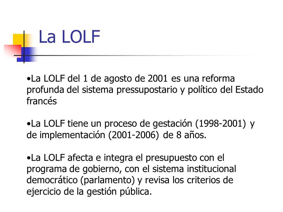 La LOLF La LOLF del 1 de agosto de 2001 es una reforma profunda del sistema pressupostario y político del Estado francés La LOLF tiene un proceso de g
