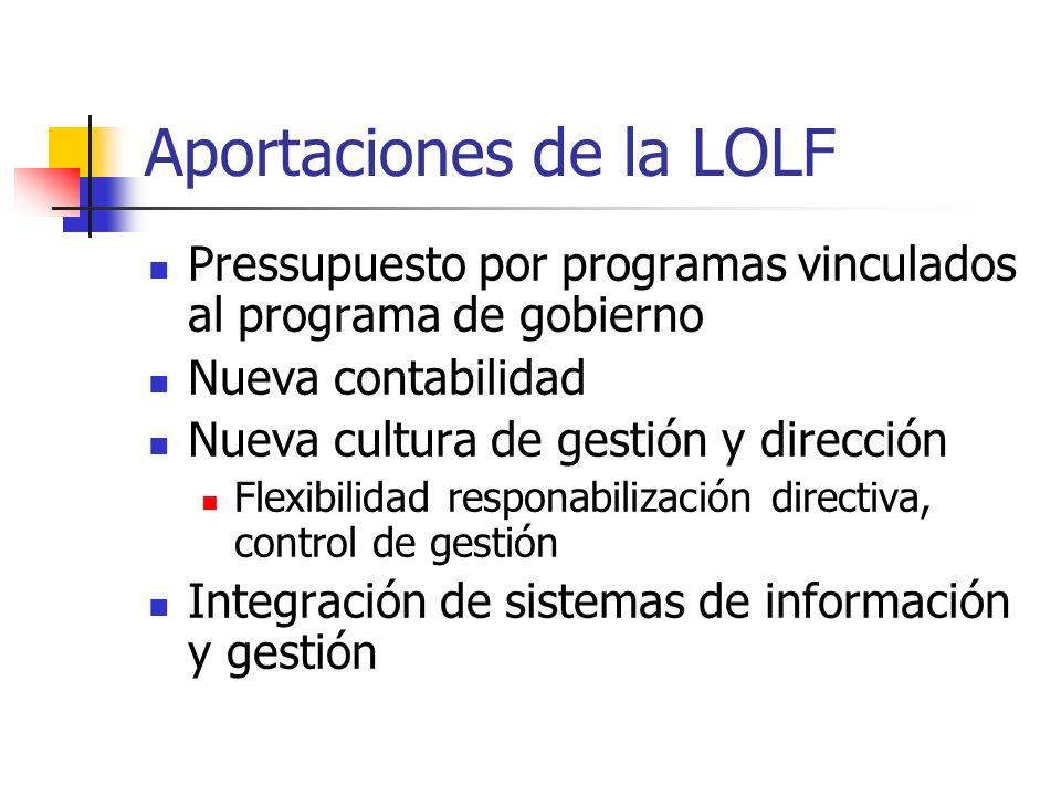 Aportaciones de la LOLF Pressupuesto por programas vinculados al programa de gobierno Nueva contabilidad Nueva cultura de gestión y dirección Flexibil