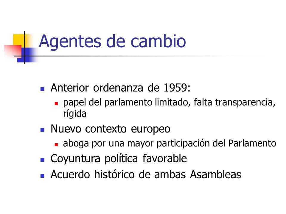 Agentes de cambio Anterior ordenanza de 1959: papel del parlamento limitado, falta transparencia, rígida Nuevo contexto europeo aboga por una mayor pa