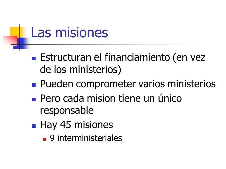 Las misiones Estructuran el financiamiento (en vez de los ministerios) Pueden comprometer varios ministerios Pero cada mision tiene un único responsab