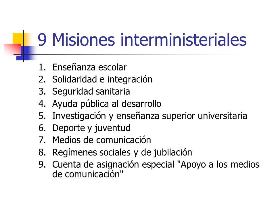 9 Misiones interministeriales 1.Enseñanza escolar 2.Solidaridad e integración 3.Seguridad sanitaria 4.Ayuda pública al desarrollo 5.Investigación y en