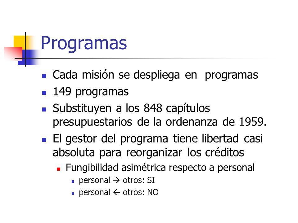 Programas Cada misión se despliega en programas 149 programas Substituyen a los 848 capítulos presupuestarios de la ordenanza de 1959. El gestor del p