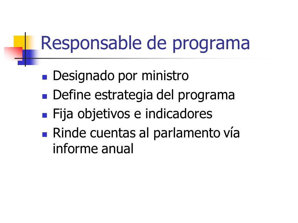 Responsable de programa Designado por ministro Define estrategia del programa Fija objetivos e indicadores Rinde cuentas al parlamento vía informe anu