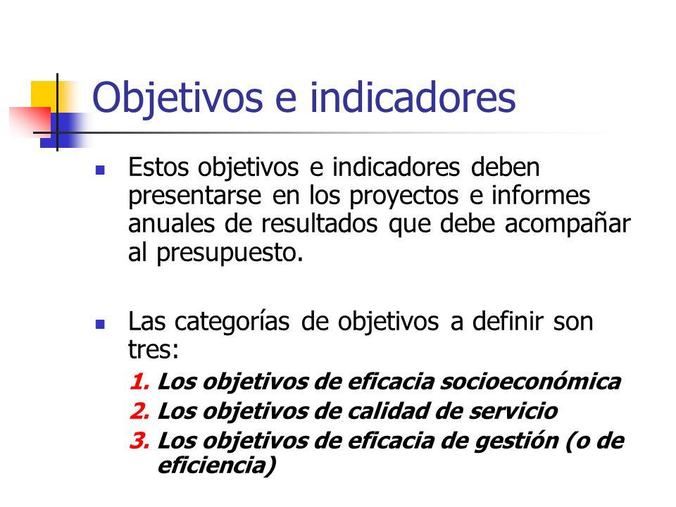 Objetivos e indicadores Estos objetivos e indicadores deben presentarse en los proyectos e informes anuales de resultados que debe acompañar al presup
