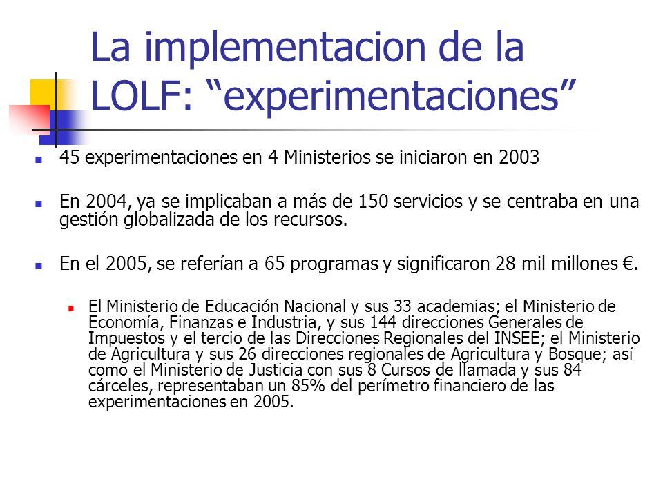 La implementacion de la LOLF: experimentaciones 45 experimentaciones en 4 Ministerios se iniciaron en 2003 En 2004, ya se implicaban a más de 150 serv