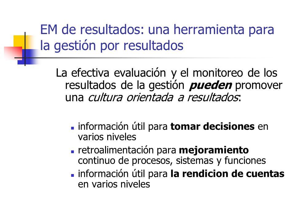 EM de resultados: una herramienta para la gestión por resultados La efectiva evaluación y el monitoreo de los resultados de la gestión pueden promover