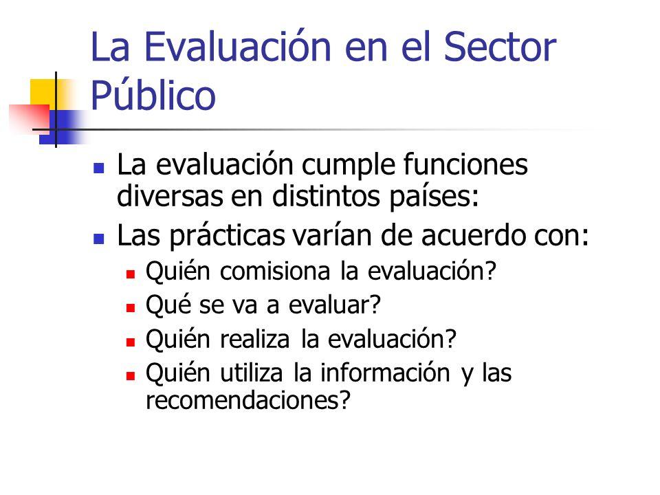 La Evaluación en el Sector Público La evaluación cumple funciones diversas en distintos países: Las prácticas varían de acuerdo con: Quién comisiona l