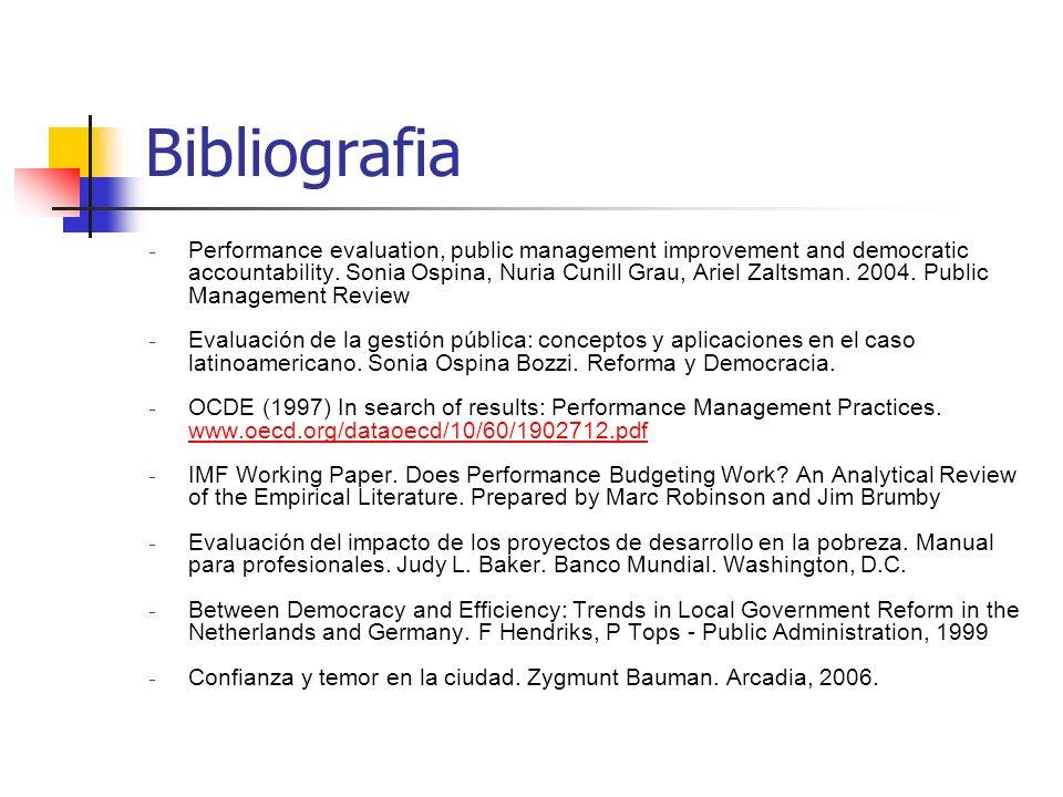 Bibliografia Performance evaluation, public management improvement and democratic accountability. Sonia Ospina, Nuria Cunill Grau, Ariel Zaltsman. 200