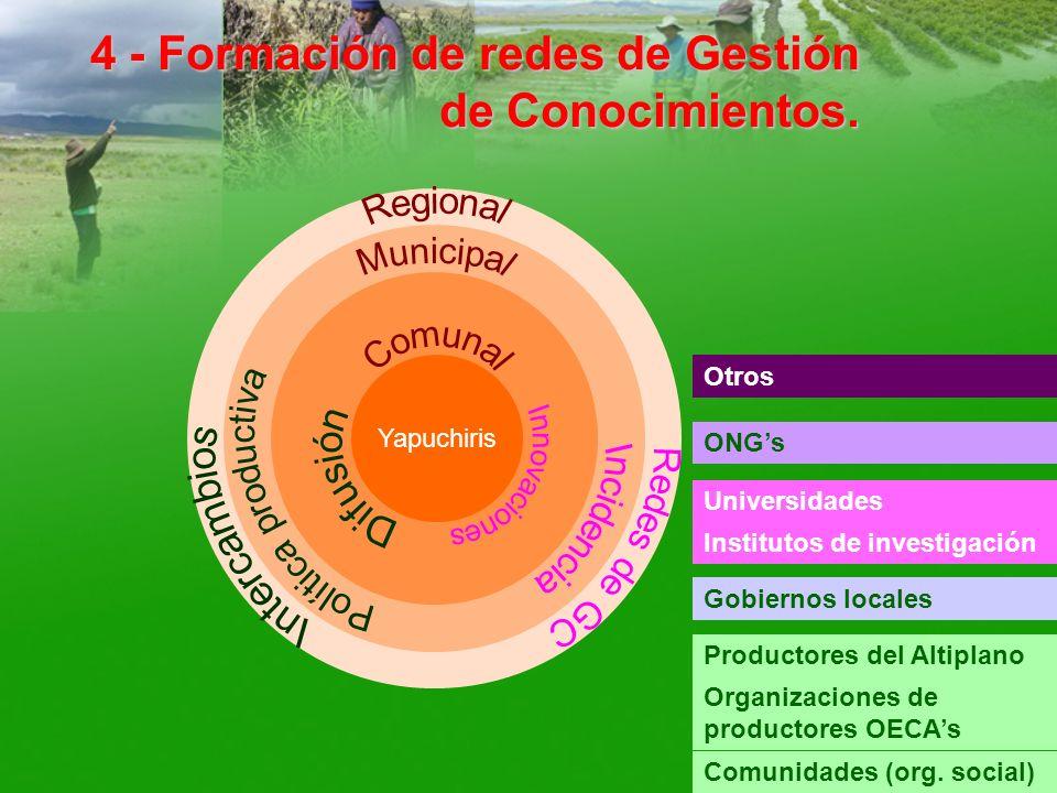 4 - Formación de redes de Gestión de Conocimientos. Yapuchiris Productores del Altiplano Organizaciones de productores OECAs Comunidades (org. social)
