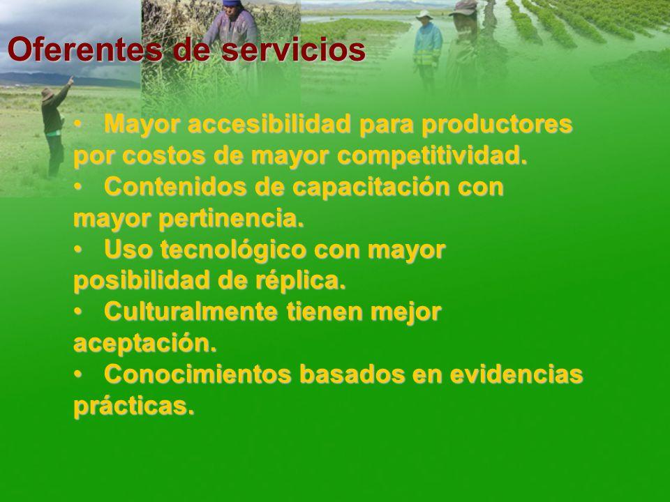 Oferentes de servicios Mayor accesibilidad para productores por costos de mayor competitividad. Mayor accesibilidad para productores por costos de may