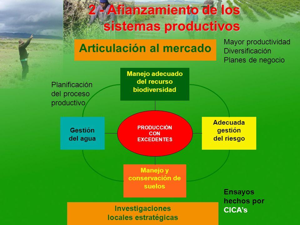 2 - Afianzamiento de los sistemas productivos Gestión del agua PRODUCCIÓN CON EXCEDENTES Manejo y conservación de suelos Manejo adecuado del recurso b