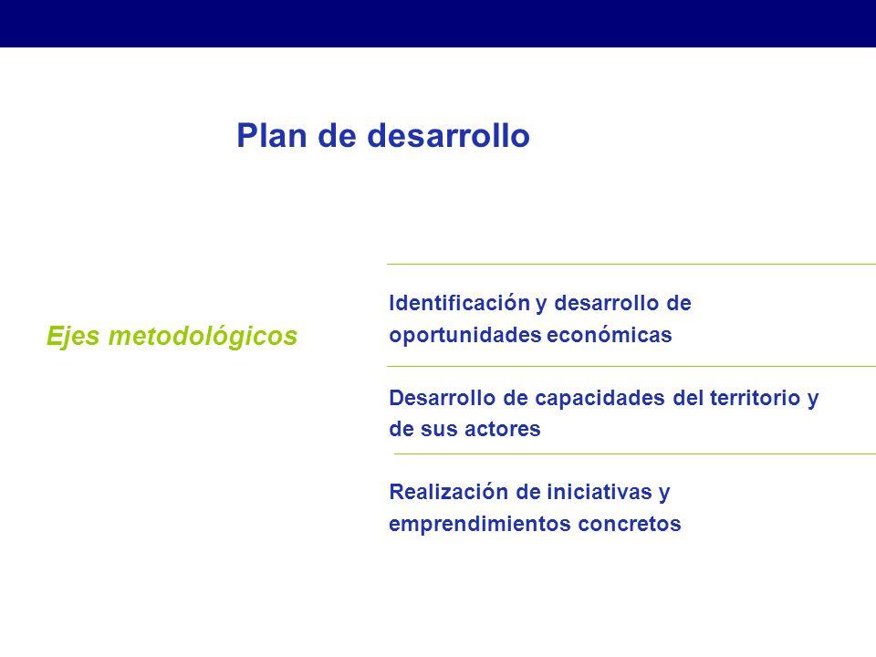 Plan de desarrollo Ejes metodológicos Identificación y desarrollo de oportunidades económicas Desarrollo de capacidades del territorio y de sus actores Realización de iniciativas y emprendimientos concretos Estrategias para el Desarrollo Económico Local