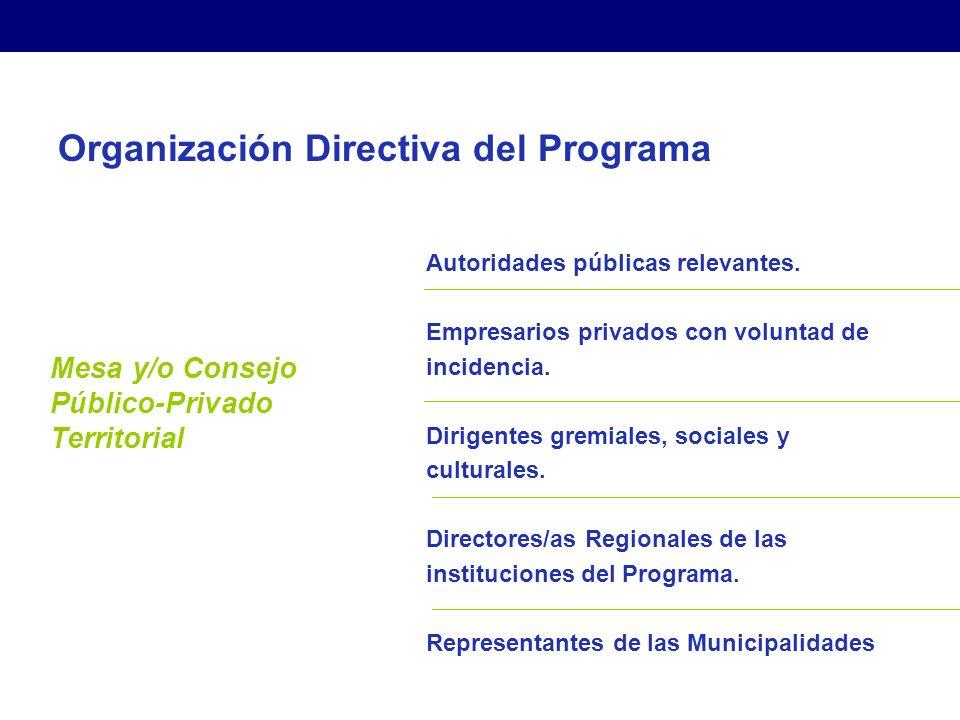 Organización Directiva del Programa Mesa y/o Consejo Público-Privado Territorial Autoridades públicas relevantes.