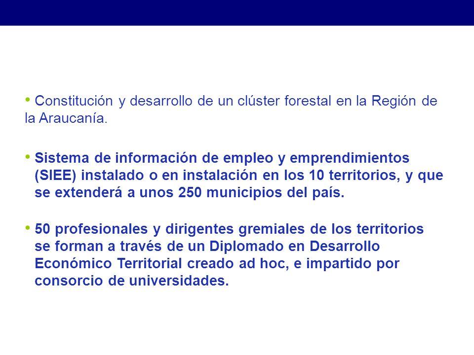 Sistema de información de empleo y emprendimientos (SIEE) instalado o en instalación en los 10 territorios, y que se extenderá a unos 250 municipios del país.