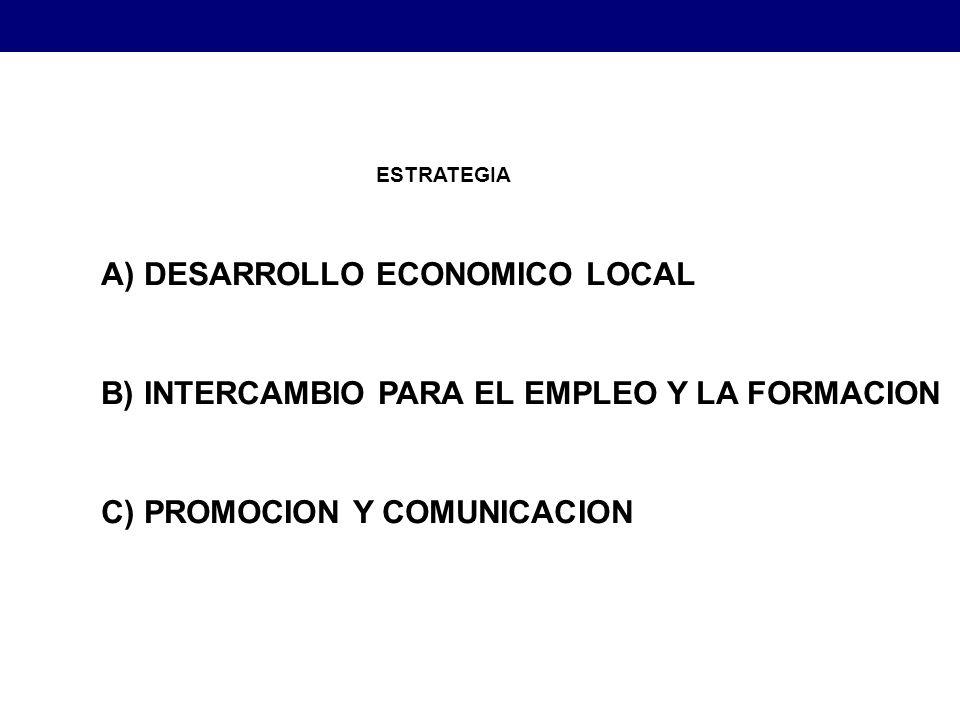 A) DESARROLLO ECONOMICO LOCAL B) INTERCAMBIO PARA EL EMPLEO Y LA FORMACION C) PROMOCION Y COMUNICACION ESTRATEGIA Estrategias para el Desarrollo Económico Local