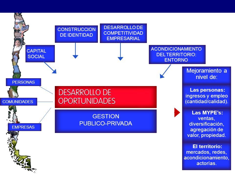 PLAN CAPITAL SOCIAL CONSTRUCCION DE IDENTIDAD ACONDICIONAMIENTO DEL TERRITORIO: ENTORNO GESTION PUBLICO-PRIVADA PERSONAS COMUNIDADES EMPRESAS DESARROLLO DE COMPETITIVIDAD EMPRESARIAL Mejoramiento a nivel de: Las personas: ingresos y empleo (cantidad/calidad).